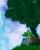 Little Fairy On A HIlltop Royalty Free Stock Photos