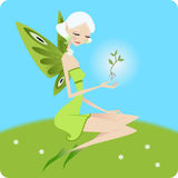 Little fairy holding a flower Stock Photography
