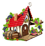 Little fairy house. Fabulous home with grapes and barrel. Vector illustration Stock Photos