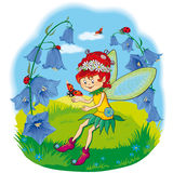 Little fairy on the lawn. With ladybug Royalty Free Stock Photo