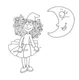 Little fairy with a magic wand and the moon chine coloring humorous children Stock Photos