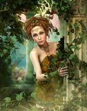 Little Fairy in the magical Garden, 3d CG stock images