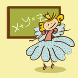 Little fairy meets a lesson from the school board Stock Photos