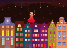 Little fairy in the night town Stock Images