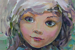 Little fairy, painting. Little fairy, fragment of painting Royalty Free Stock Photography
