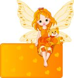 Little fairy place card. Little fairy sitting on place card Royalty Free Stock Images