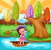 little fairy sailing boat royalty free illustration
