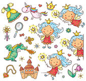 Little fairy set with a castle, unicorn, dragon and accessories Royalty Free Stock Image