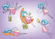 Little fairy. Set of vector sketches Royalty Free Stock Images