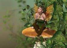 Pixie on a Mushroom. A little fairy is sitting on a mushroom Vector Illustration