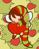 Little fairy of strawberries Royalty Free Stock Photos