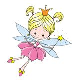 Little fairy. Sweet lady fairy tale. Vector character on a white background. Hand drawing Royalty Free Stock Photos