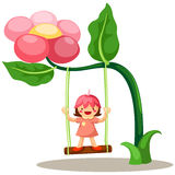 Little fairy on swing. Illustration of isolated little fairy on a swing Stock Photo