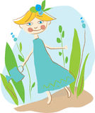 Little fairy watering fern Stock Photography