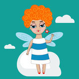 Little fairy with wings. Fairy, girl with dragonfly wings.Vector curly red-haired little character with magic wand in hand, in dress,  on green background Royalty Free Stock Images