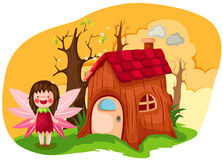 little fairy with wooden house royalty free illustration