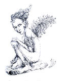 Little fairy writer with a feather, fantasy detailed ornamental Royalty Free Stock Images