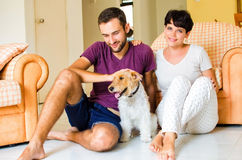 Little family and dog. Man and women in they house playing with the dog Royalty Free Stock Photo
