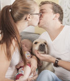 Little family with dog Royalty Free Stock Photos