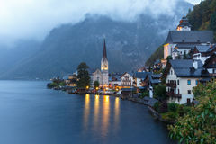 Little famous Hallstatt village in Alps at dusk in Austria Royalty Free Stock Photography