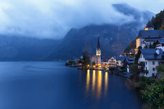 Little famous Hallstatt village in Alps at dusk in Austria Royalty Free Stock Image