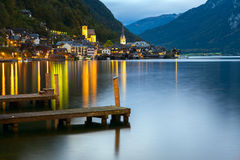 Little famous Hallstatt village in Alps at dusk in Austria Royalty Free Stock Photo