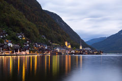 Little famous Hallstatt village in Alps at dusk in Austria Stock Photography
