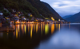 Little famous Hallstatt village in Alps at dusk in Austria Stock Image