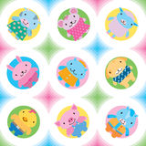 Little farm animals seamless pattern. Little animals (farm & pets) seamless pattern. Vector illustration