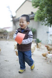 Little farm boy feeding the chickens Royalty Free Stock Photos