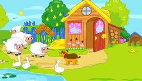 Little farm with cute animals. Cartoon illustratio Stock Photos