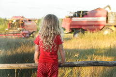 Little farm girl wearing red polka dot kids pans looking at field with working combine harvesters. Little farm girl is wearing red polka dot kids pans looking at Stock Photography