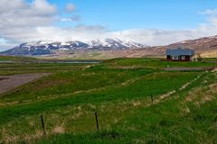 Little farm in Laufas village near Akureyri, Iceland Stock Images