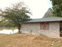 Little farmer hut near lake stock photography