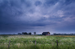 Little farmhouse on pasture with dandelions royalty free stock photography