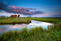 Little farmhouse at sunset Royalty Free Stock Photography