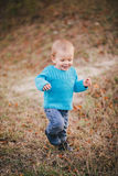 Little fashion boy in a forest wearing blue sweater and jeanse Stock Photos