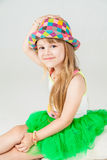 Little fashion girl in beautiful dress posing Royalty Free Stock Photography