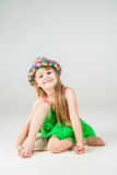Little fashion girl in beautiful dress posing Stock Photography