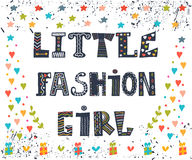 Little fashion girl card. Cute graphic for kids. Funny postcard Royalty Free Stock Photos