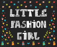Little fashion girl card. Cute graphic for kids. Funny postcard Royalty Free Stock Photography