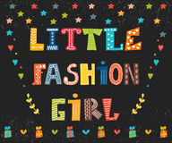 Little fashion girl card. Cute graphic for kids. Funny postcard Stock Photo