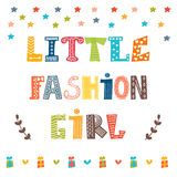 Little fashion girl card. Cute graphic for kids Stock Photos