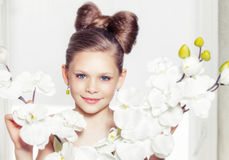Little fashion kid girl. Portrait of a little fashion kid girl stock images
