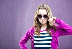 Little fashion model in sunglasses Royalty Free Stock Photos