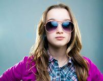 Little fashion model in sunglasses Stock Photos