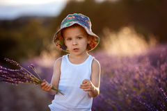 Little fashionable boy having fun in lavender field Royalty Free Stock Photo
