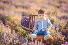 Little fashionable boy having fun in lavender summer field. Stock Image