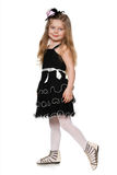 Little fashionable girl in black Stock Images