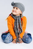Little fashionable girl in warm clothes Royalty Free Stock Image